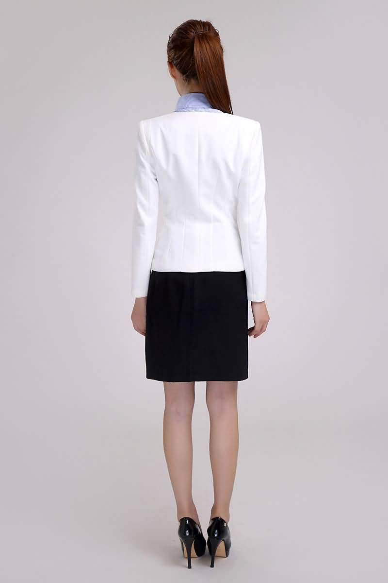 白色经典夏季职业装背面图片