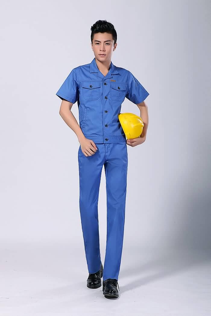 蓝色工作服夏装男装