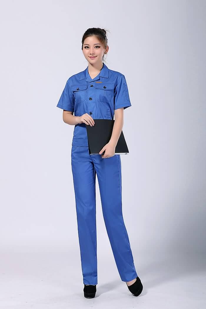 蓝色工作服夏装女装