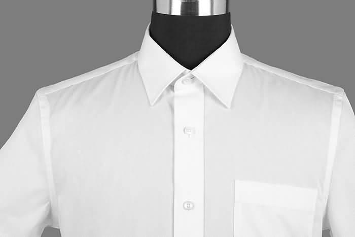 男士夏季白色短袖正规领衬衫领部细节图片