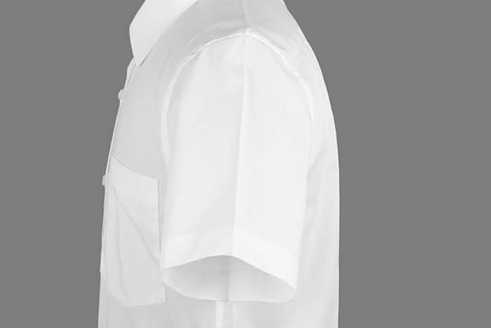 男士夏季白色短袖正规领衬衫侧面图片