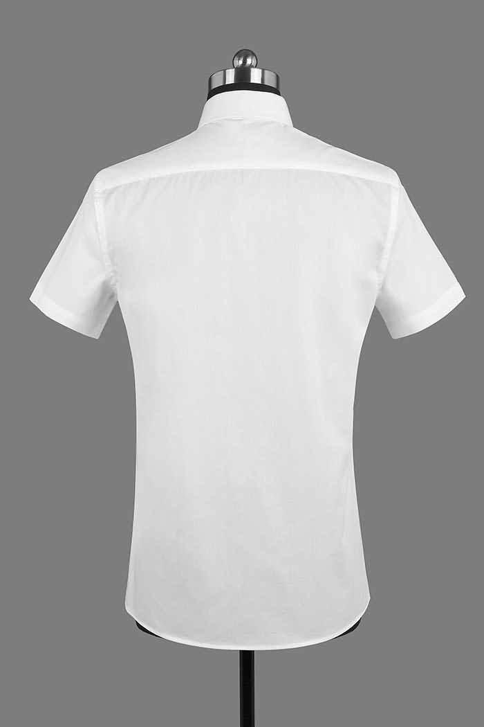 男士夏季白色短袖正规领衬衫背面图片