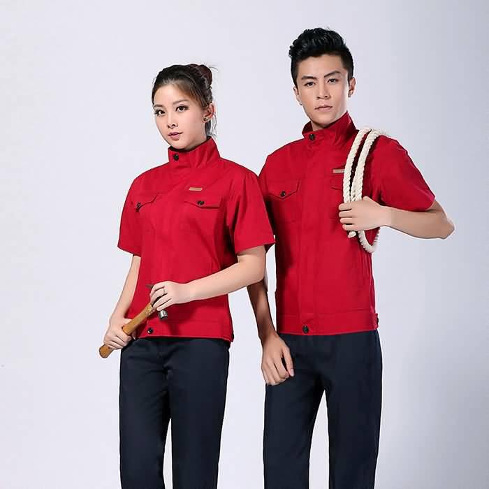 2015夏季工作服款式红色车间工作服