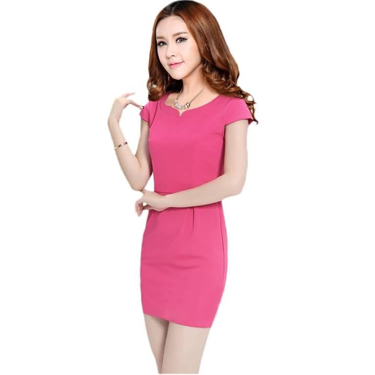 2015粉色连衣裙女性夏季职业装