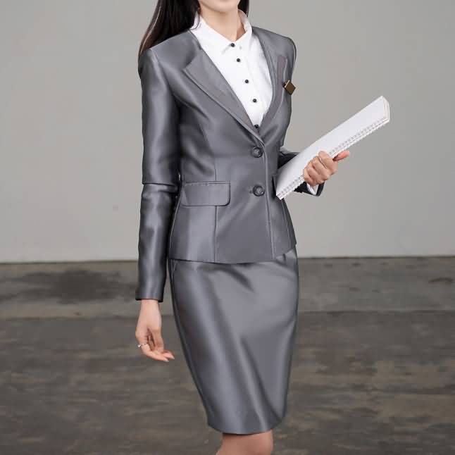 灰色高亮女士西服职业装套裙