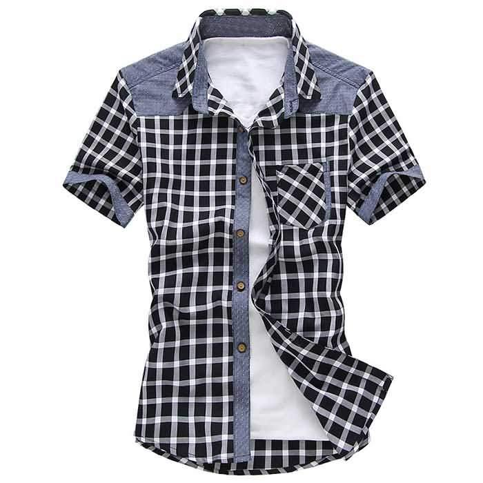 韩版男士夏季短袖格子拼接衬衣