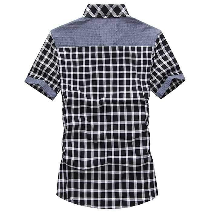 韩版男士夏季短袖格子拼接衬衣背面图片