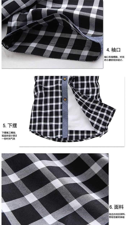 韩版男士夏季短袖格子拼接衬衣细节图片2