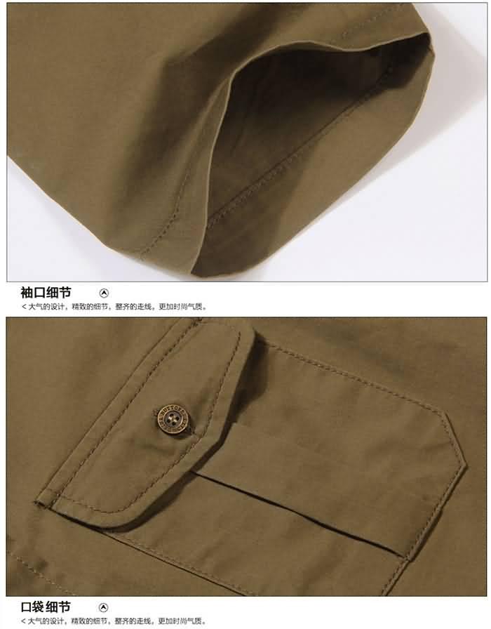 卡其色夏季工装短袖衬衣细节图片2