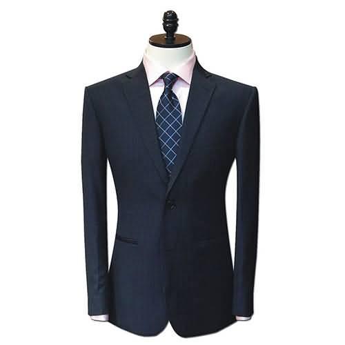 修身复古绅士黑底蓝竖条纹西服男士职业装