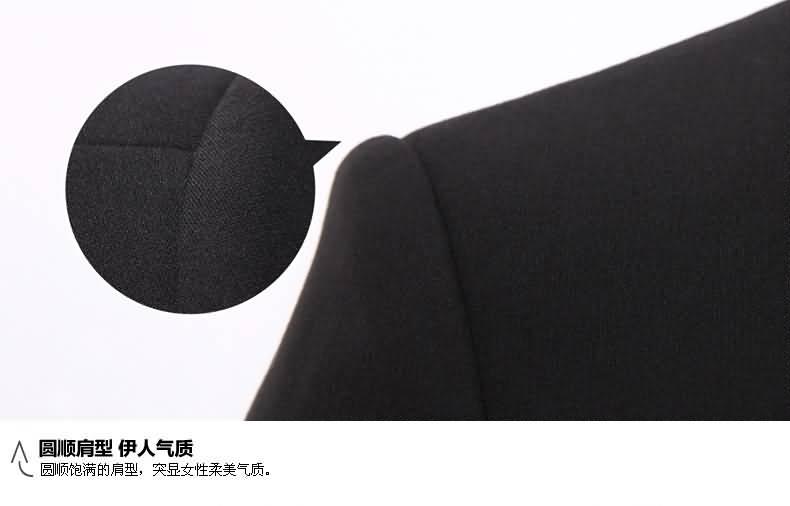黑色职业装套裙圆肩