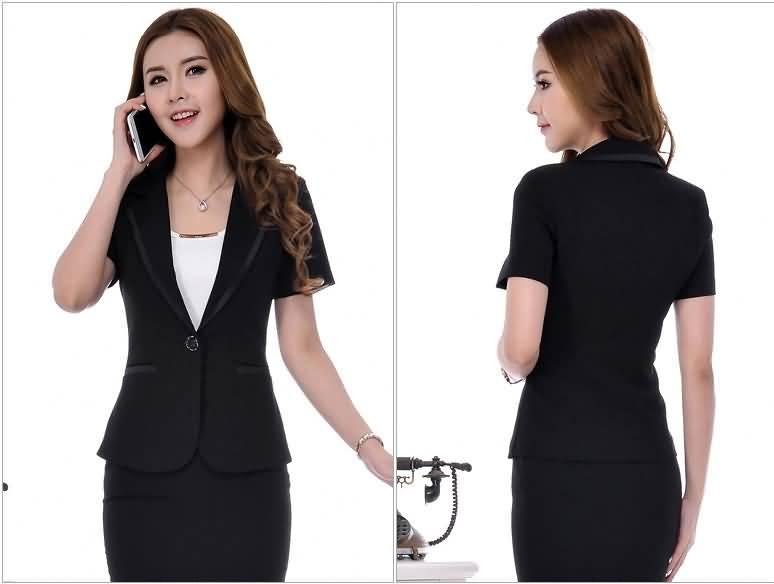 2015新款黑色西服套裙女士职业装背面图片