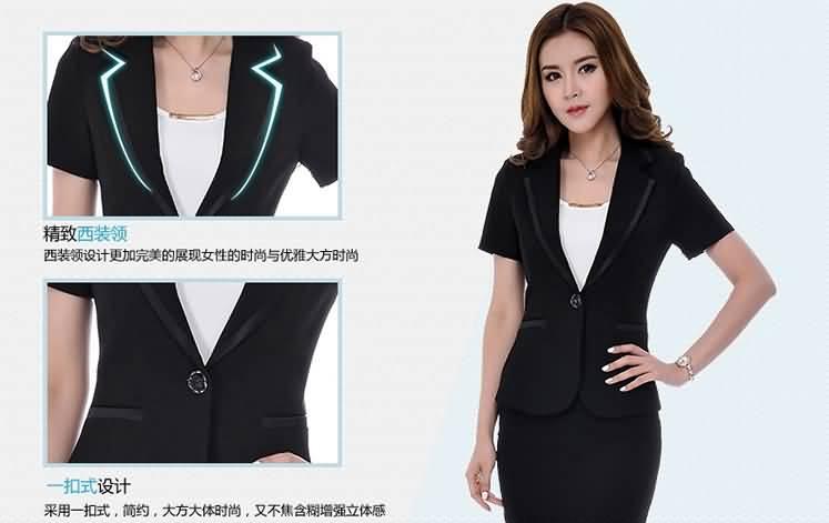 2015新款黑色西服套裙女士职业装细节图片