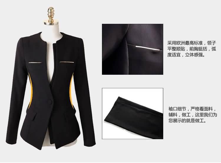 黑色圆领职业装套裙细节图