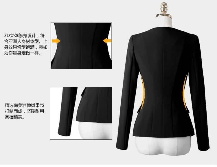 黑色白领职业装套裙细节图