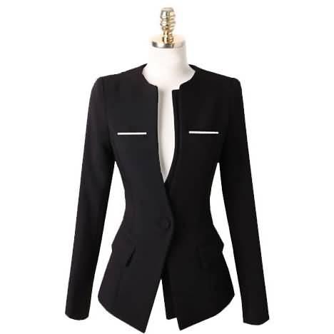 黑色圆领女士职业装套装套裙