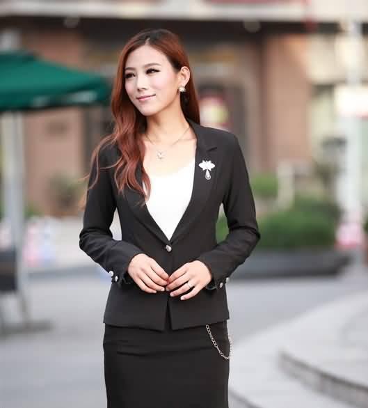黑色通勤OL职业装女式长袖小西装