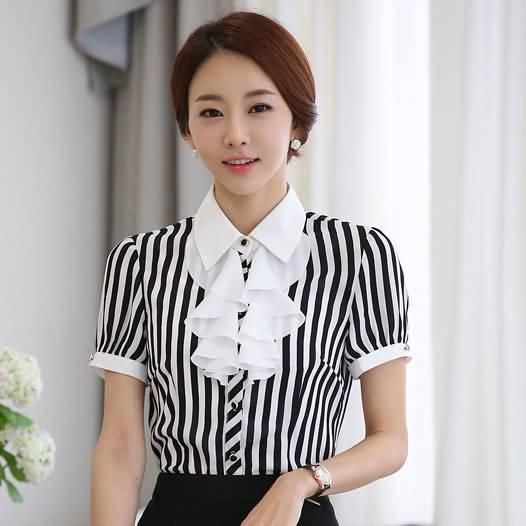 荷叶边ol衬衫短袖职业女衬衫
