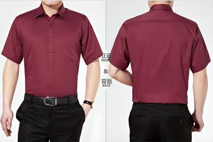 酒红色短袖夏季男士魅力衬衫正反面图片