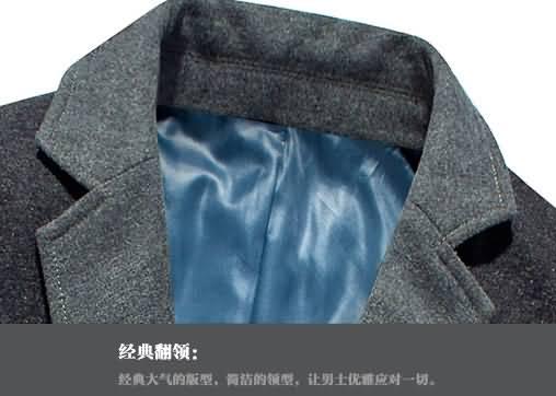 灰色男士拼接撞料职业装西服领部细节图片