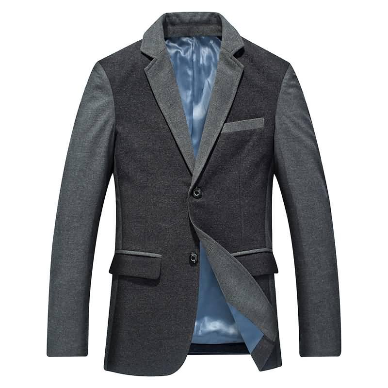灰色男士拼接撞料职业装西服