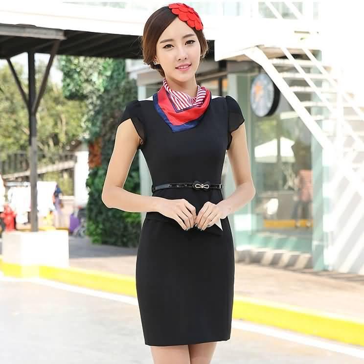 黑色极瘦连衣裙白领夏季职业装