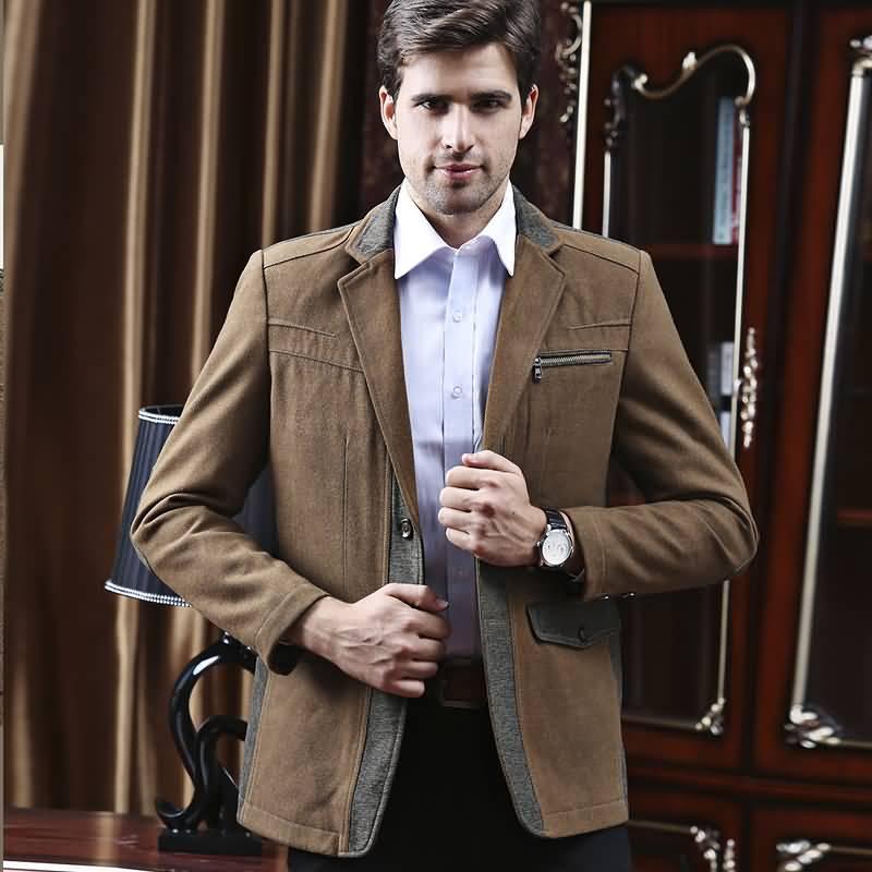 咖啡色男士职业装商务休闲西装上衣