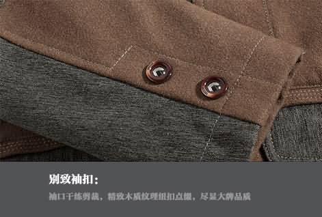 咖啡色男西职业装袖口细节