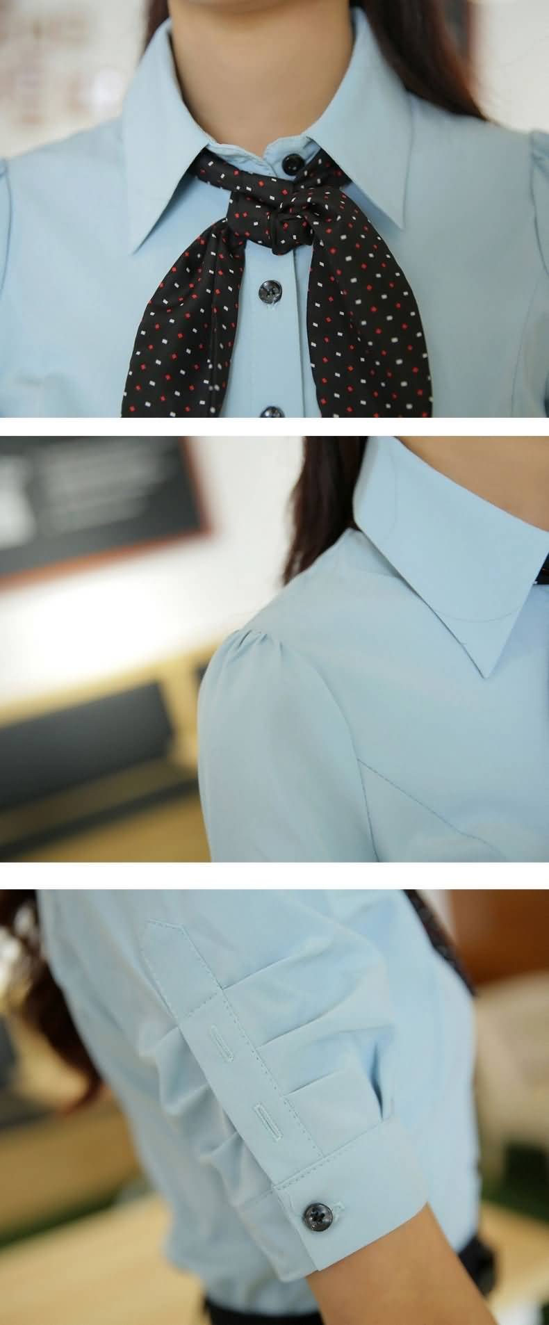 蓝色女式泡泡袖衬衫细节图片