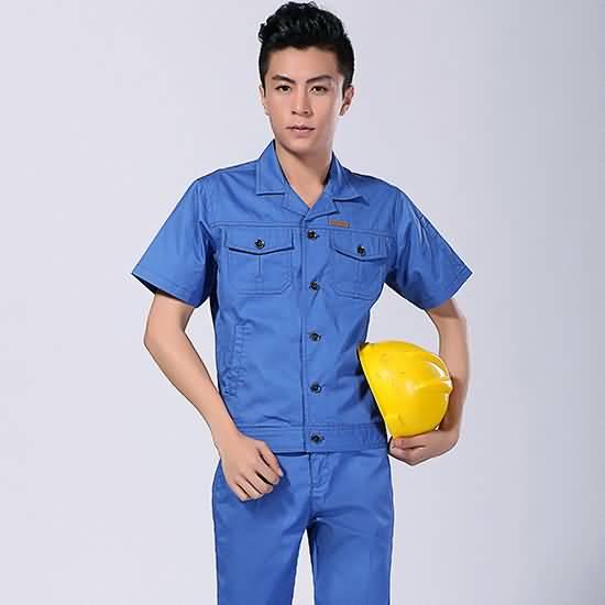 蓝色运动工作服夏装工厂工服