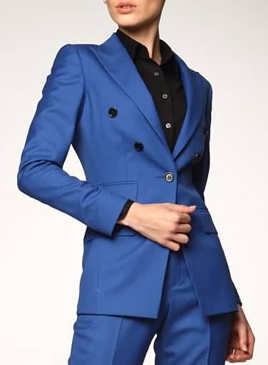 女式职业装套装蓝色西装