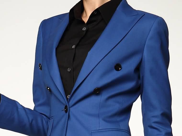 女士职业装套装蓝色西服