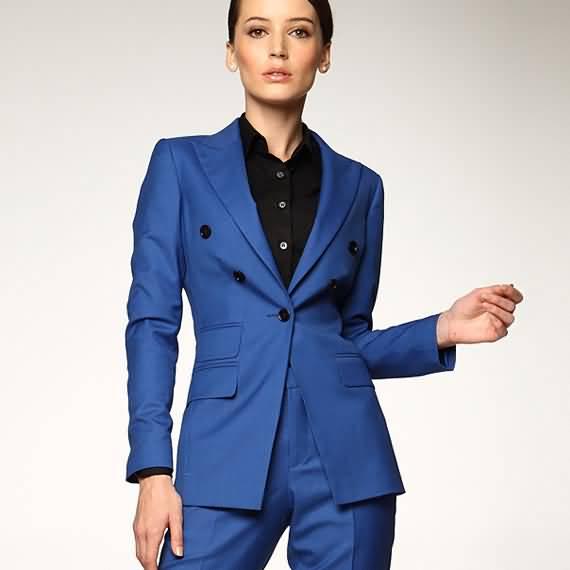 蓝色女士西服职业装套装