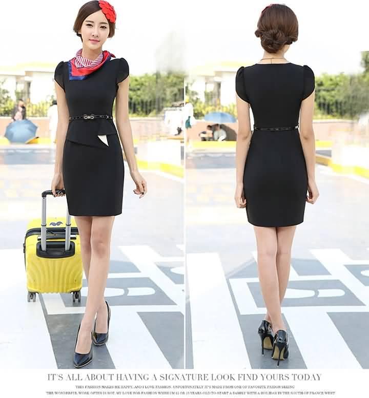 黑色连衣裙显瘦夏装白领必备