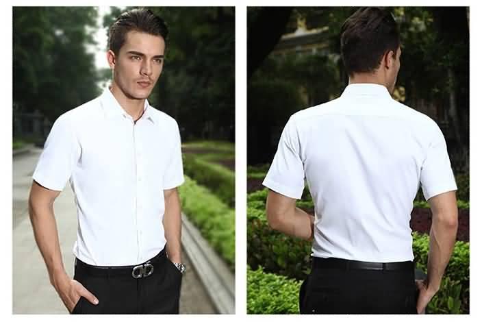 2015夏季短袖男士白衬衫正反面图片