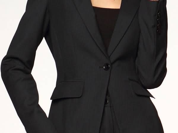 黑色女细条纹西装套装