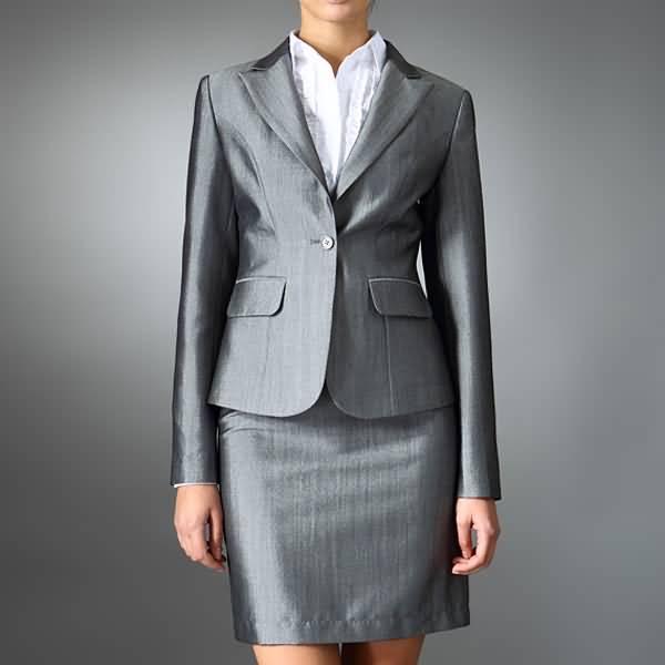 女士亮银色职业西装时尚职业装
