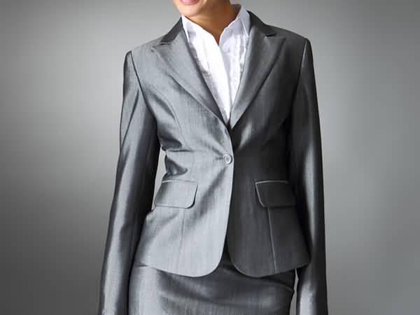 亮银色女式西服套裙