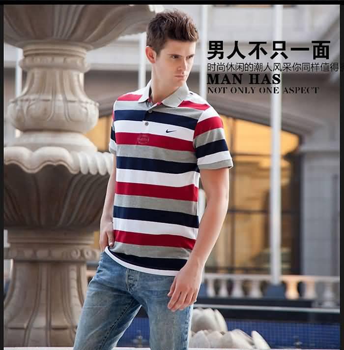 经典条纹polo衫