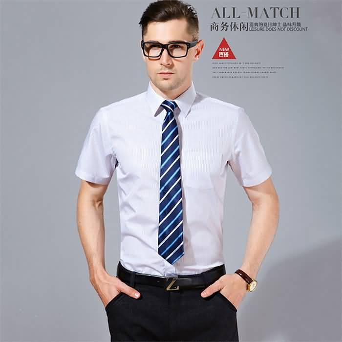 夏季短袖商务休闲条纹衬衣
