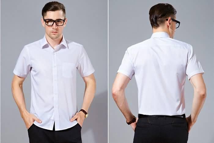 夏季男士短袖商务休闲条纹衬衣正反面图片