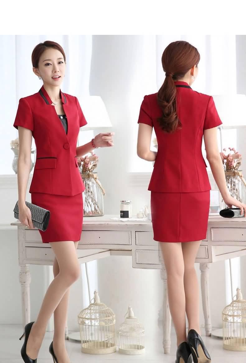 红色职业装套裙女士白领装