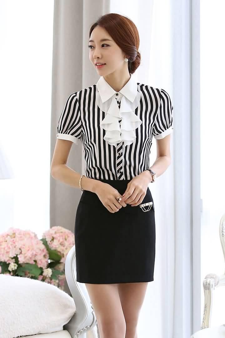 条纹装短袖职业ol衬衫