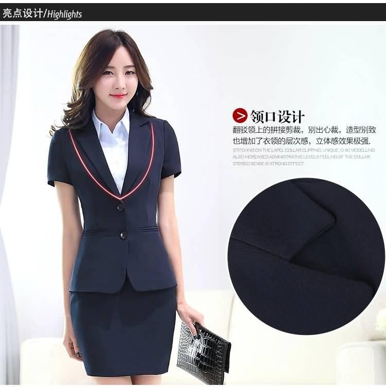 韩版夏季职业装套裙领部细节图片