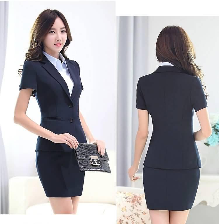 夏季职业装套裙黑色系