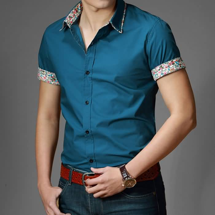 男士时尚休闲修身纯棉半袖衬衫