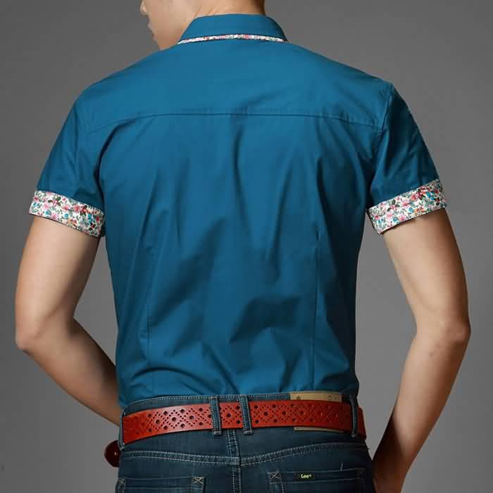 男士时尚休闲修身纯棉半袖衬衫背面图片
