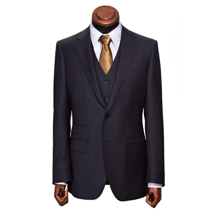 英伦职业装套装男士商务条纹西装三件套