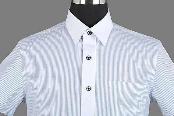 男士夏季蓝条纹短袖正规领衬衫门襟图片
