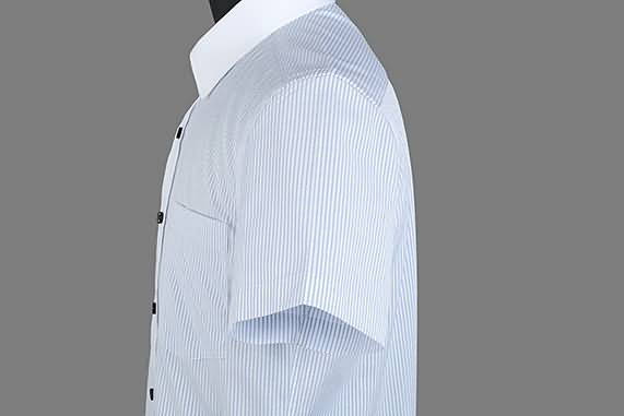 男士夏季蓝条纹短袖正规领衬衫侧面图片